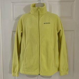 COLUMBIA Fleece Jacket M Full Zip Neon Yellow EXC